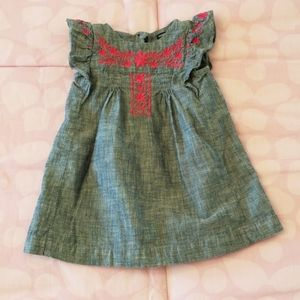 GAP Baby Girl Denim Dress with Pink Embroidery